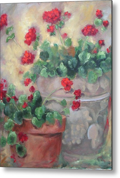 Geraniums Metal Print featuring the painting Geraniums by Ginger Concepcion