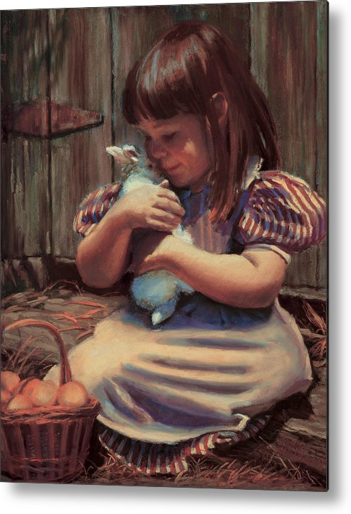 Girl Metal Print featuring the painting Girl With A Bunny by Jean Hildebrant
