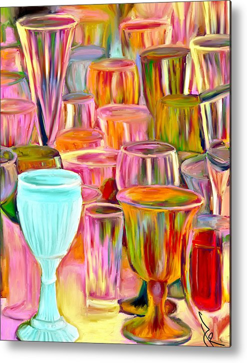Glasses Metal Print featuring the painting Glass Collection by Jude Reid
