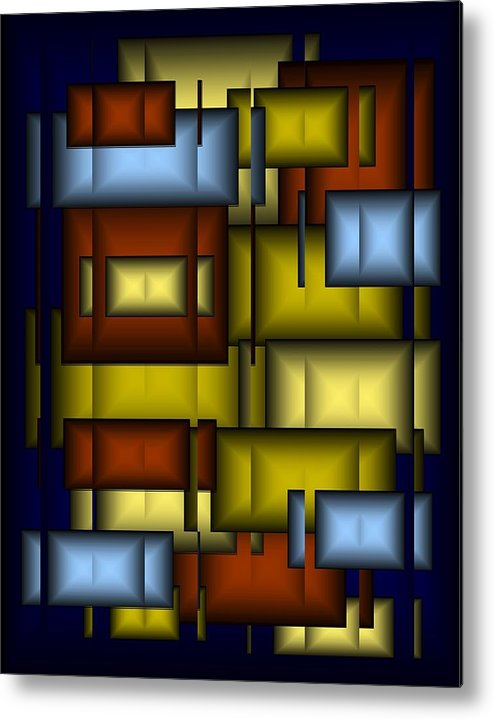 Glass Metal Print featuring the digital art Glass Tile Abstract by Terry Mulligan