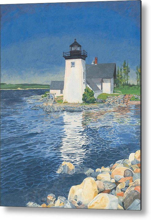 Lighthouse Metal Print featuring the painting Grindle Point Light by Dominic White
