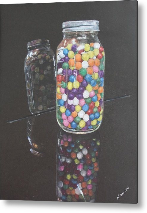 Gumballs Metal Print featuring the drawing Gumballs by Kathleen Smith