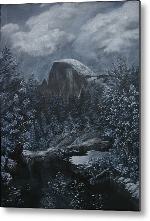 Yosemite Metal Print featuring the painting Half Dome Black And White by Travis Day