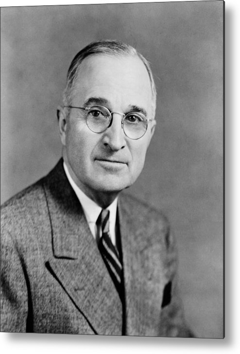 President Truman Metal Print featuring the photograph Harry Truman - 33rd President Of The United States by War Is Hell Store