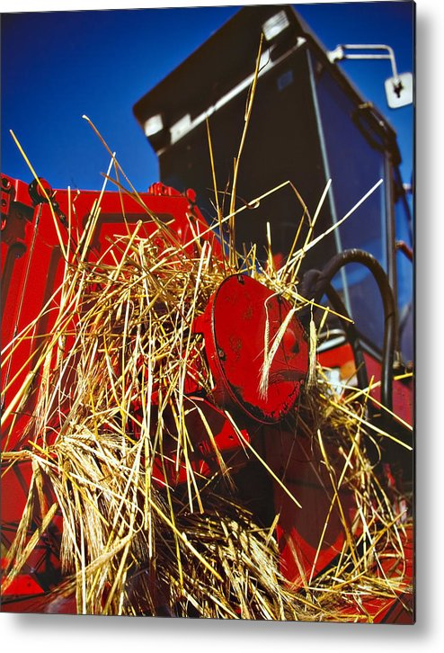 Combine Metal Print featuring the photograph Harvesting by Meirion Matthias