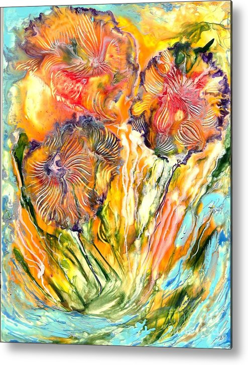 Healing Metal Print featuring the painting Healing Blossoms For Heather Ward by Heather Hennick