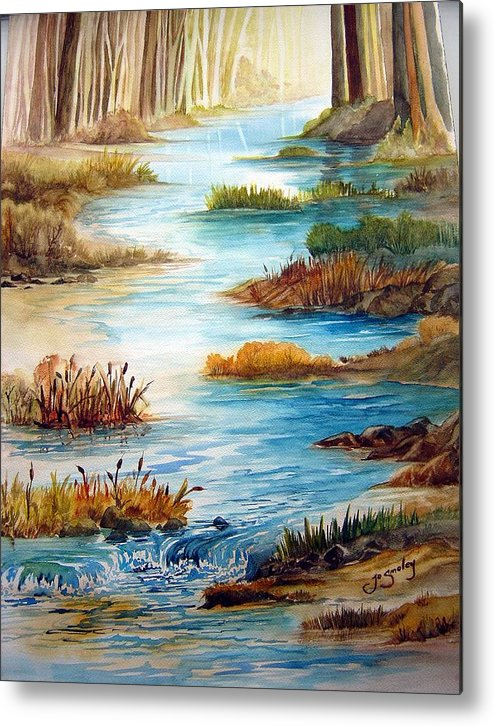 Heavens Gift Water Trees Landscape Metal Print featuring the painting Heavens Gift by Joanne Smoley