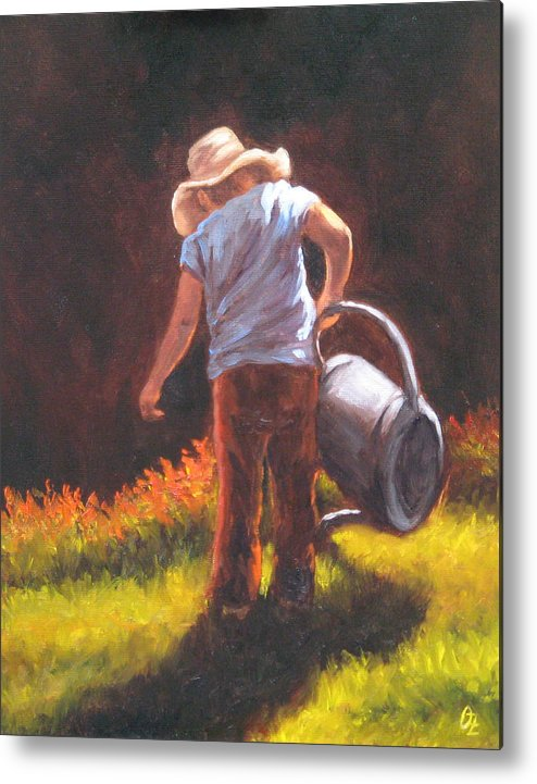 Kids Metal Print featuring the painting Heavy Watering Can... by Oksana Zotkina
