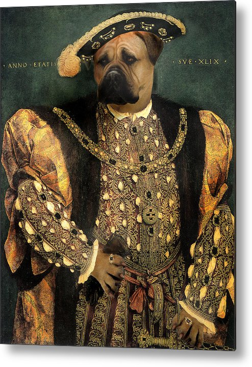 Mastiff Metal Print featuring the digital art Henry Viii As A Mastiff by Galen Hazelhofer