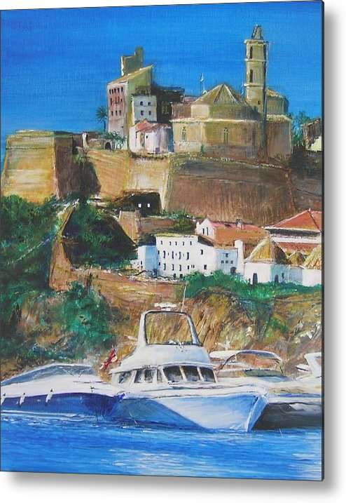 Original Landscape Painting Metal Print featuring the painting Ibiza Town by Lizzy Forrester