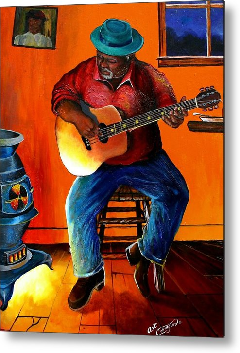 Guitarist Metal Print featuring the painting Inside My Music IIi by Arthur Covington
