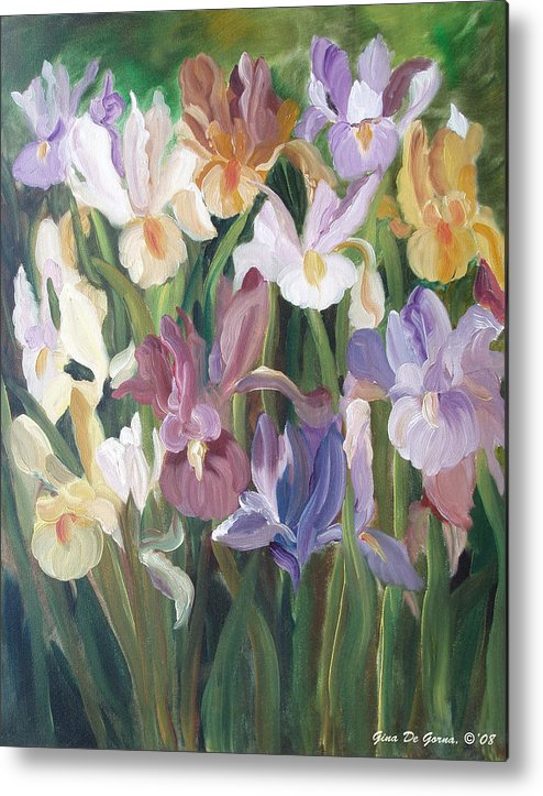 Irises Metal Print featuring the painting Irises by Gina De Gorna