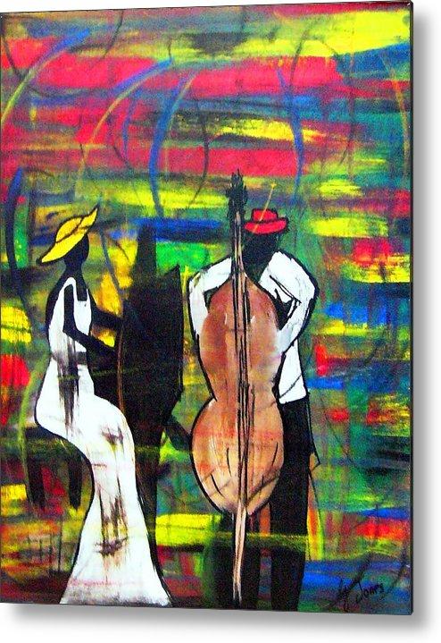 Vibrant Metal Print featuring the painting Jazz Performers by Glenda Jones