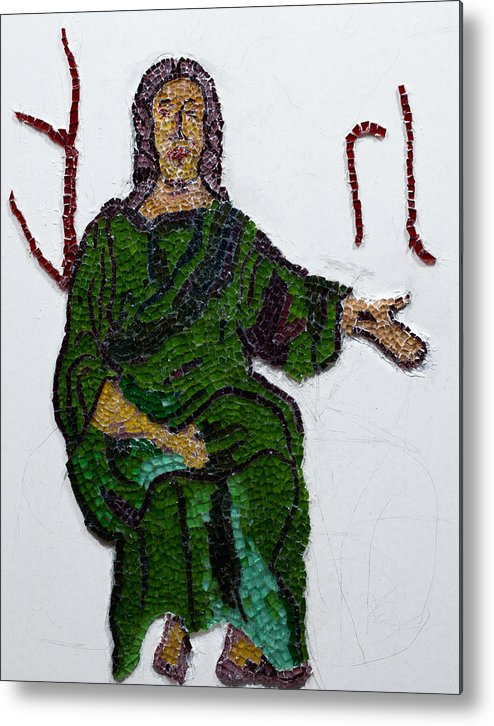 Stained Glass Mosaic Metal Print featuring the glass art Jesus by Emma Kinani