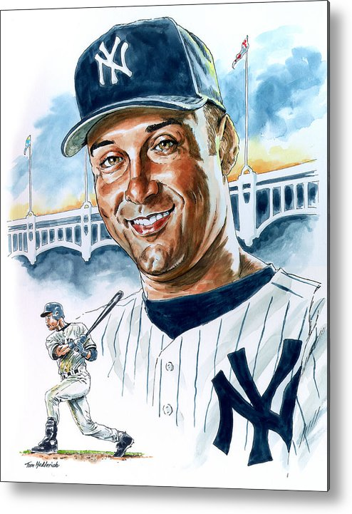 Jeter Metal Print featuring the painting Jeter by Tom Hedderich