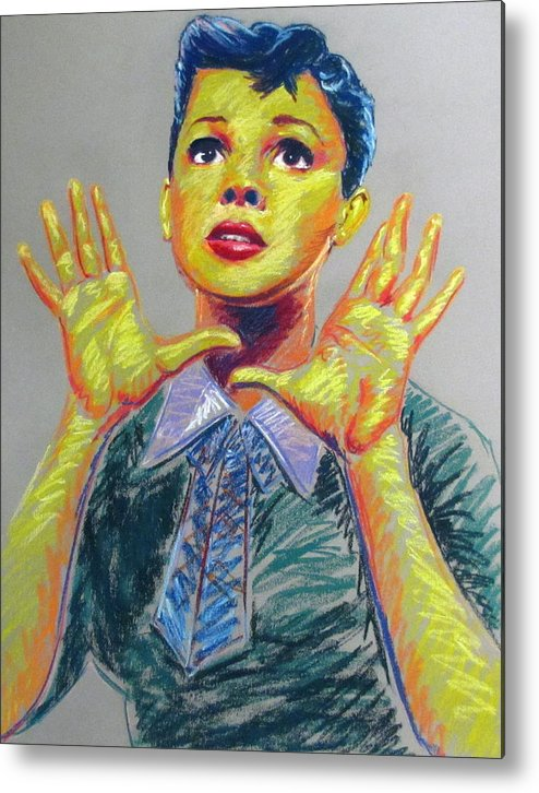 Judy Metal Print featuring the drawing Judy Garland by Heather Bullach