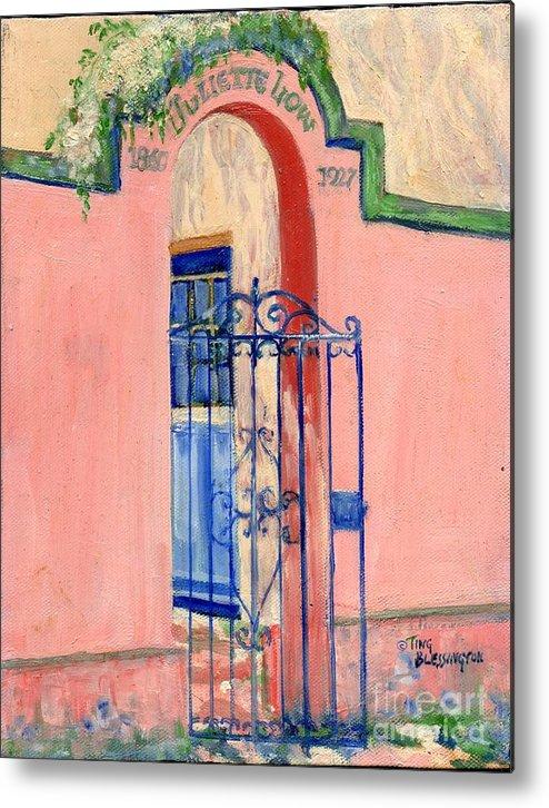 Girl Scout Headquarters Metal Print featuring the painting Juliette Low Garden Gate Savannah by Doris Blessington