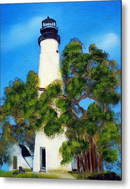 Lighthouse Metal Print featuring the painting Key West Lighthouse by Darlene Green