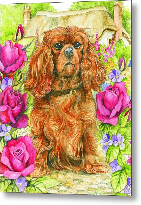 King Metal Print featuring the painting King Charles Spaniel by Morgan Fitzsimons