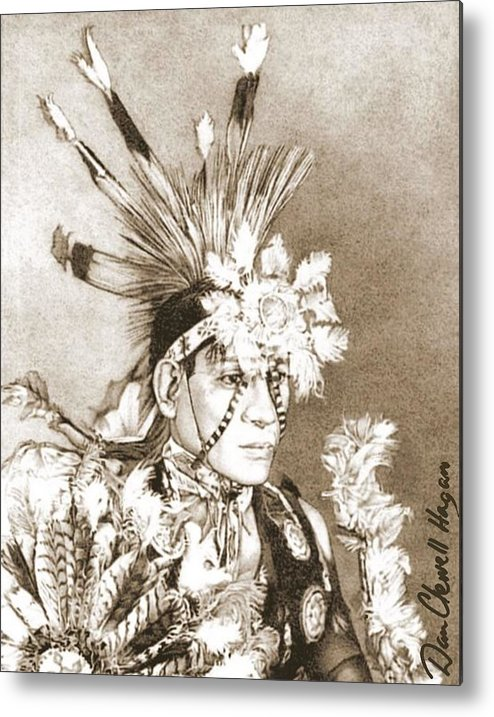 American Indian Metal Print featuring the drawing Kiowa Indian by Dan Clewell