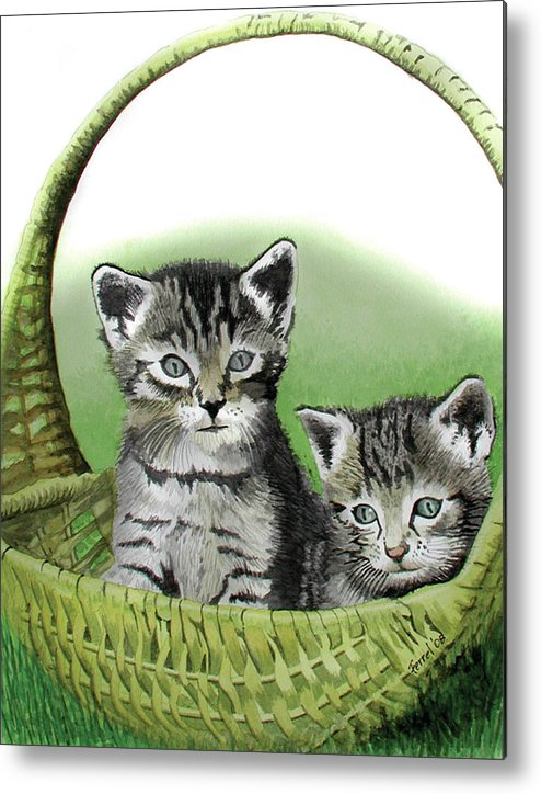 Cat Metal Print featuring the painting Kitty Caddy by Ferrel Cordle