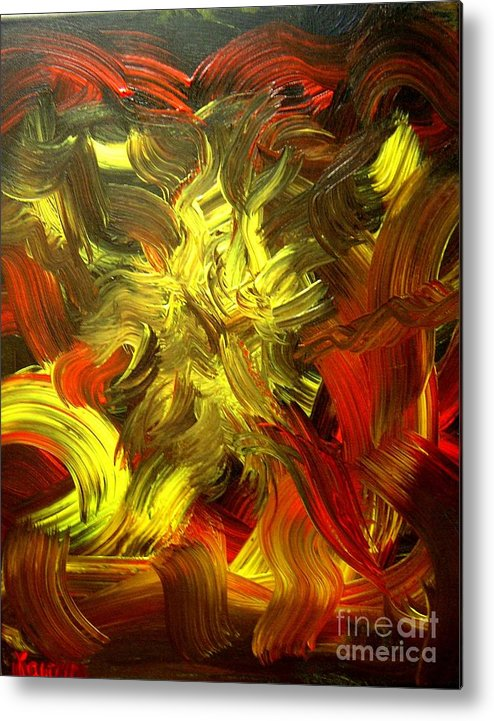Abstract Metal Print featuring the painting Laughing Lion by Karen L Christophersen
