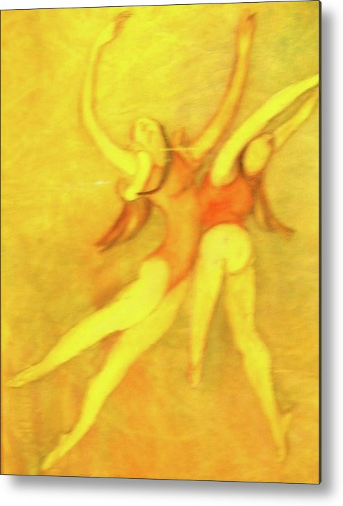This Is A Matted And Framed Painting Of Two Women Dancers Expressing Exhuberance. Rendered In Reds Metal Print featuring the painting let's Dance by Georgia Annwell