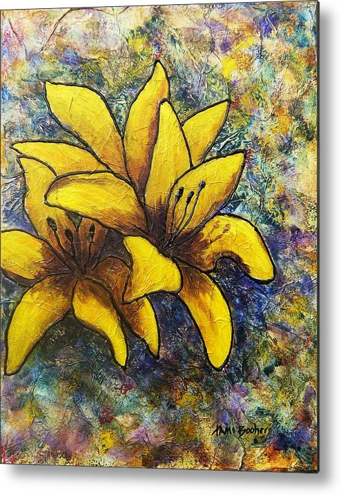 Flowers Metal Print featuring the painting Lilies by Tami Booher