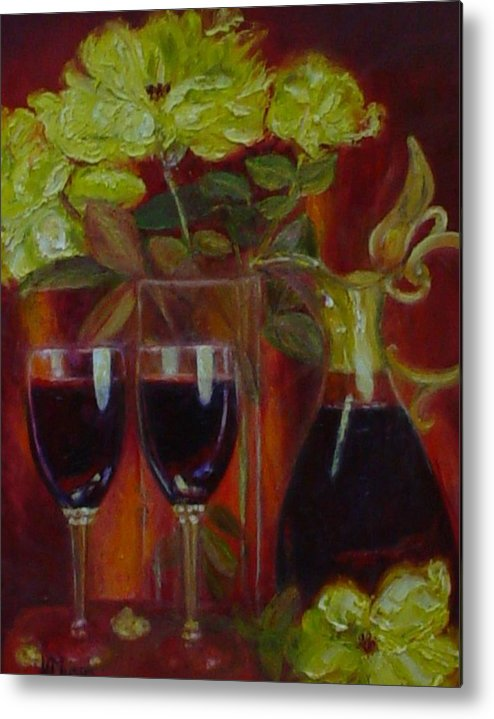 Yellow Roses Metal Print featuring the painting Lindeman's Merlot by Helen Musser