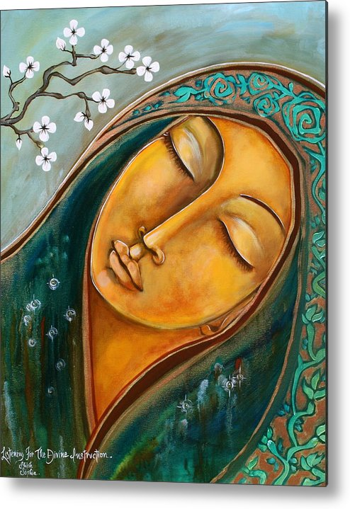Metal Print featuring the painting Listening For The Divine Instruction by Shiloh Sophia McCloud