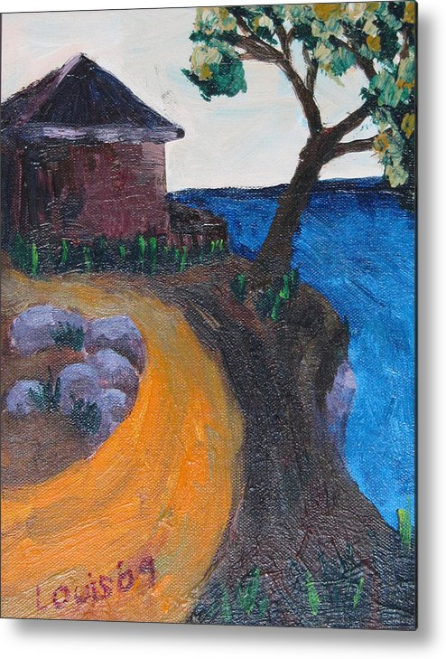 Island Metal Print featuring the painting Little House On Hill by Louis Stephenson