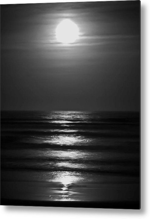 Moon Metal Print featuring the digital art Lunar Tides by DigiArt Diaries by Vicky B Fuller