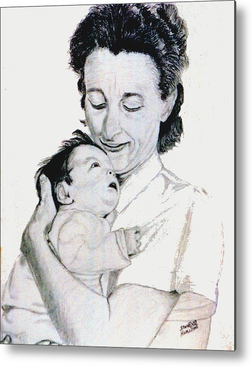 Madona Metal Print featuring the drawing Madona And Baby by Stan Hamilton