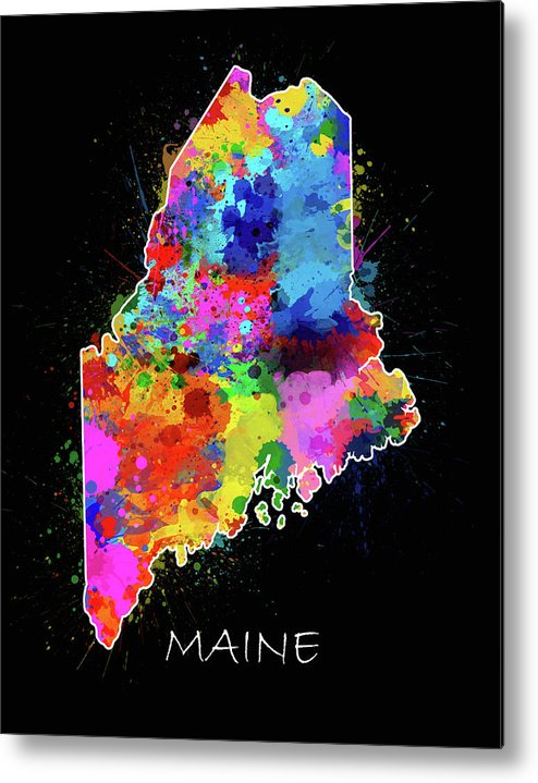 Maine Metal Print featuring the digital art Maine Map Color Splatter 2 by Bekim M