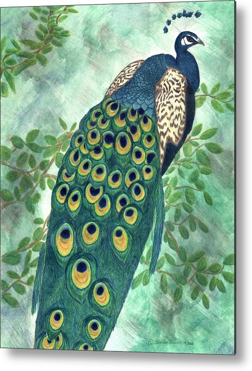 Peacock Metal Print featuring the drawing Majestic by Jennifer Skalecke