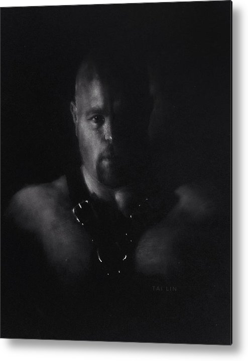 Male Nude Metal Print featuring the drawing Male Nude 10. Mike by Tai Lin