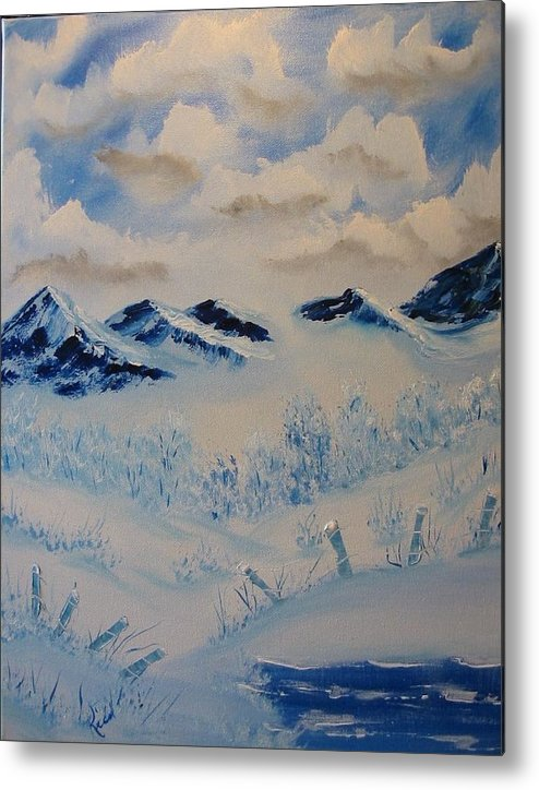 Blue Metal Print featuring the painting Many Valleys by Laurie Kidd