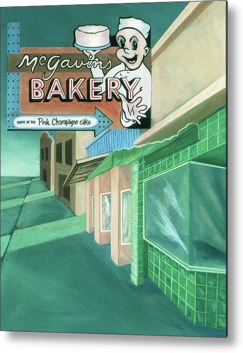 Vintage Sign Metal Print featuring the painting Mcgavins's Bakery by Sally Banfill