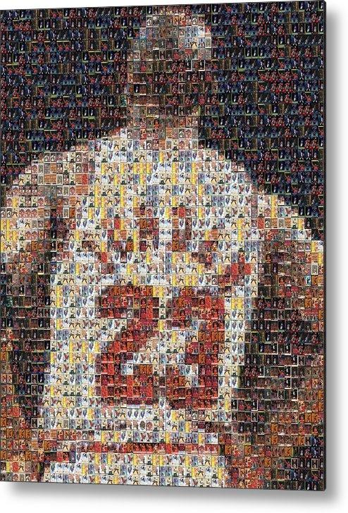 Michael Jordan Metal Print featuring the mixed media Michael Jordan Card Mosaic 2 by Paul Van Scott