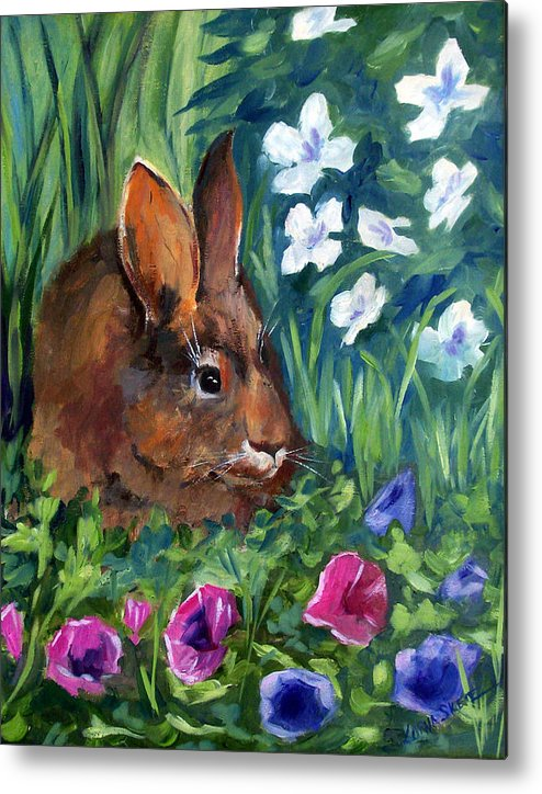 Animal Metal Print featuring the painting Miss Bunny by Lorna Skeie