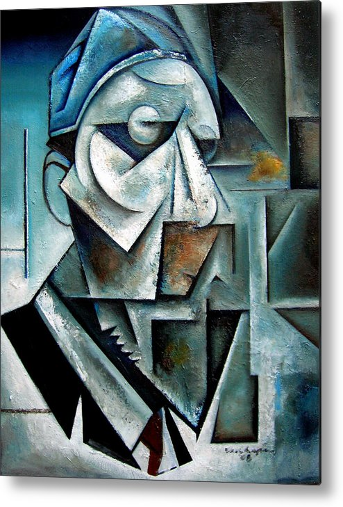 thelonious Monk Jazz Piano Cubist Portrait Metal Print featuring the painting Misterioso by Martel Chapman