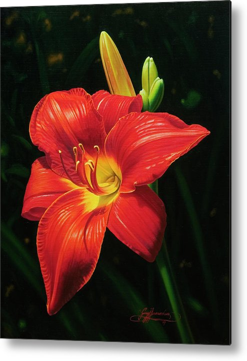 Lily Metal Print featuring the painting Monikas Red Lily by Gary Hernandez