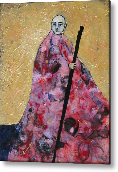 Gold Metal Print featuring the painting Monk With Walking Stick by Pauline Lim