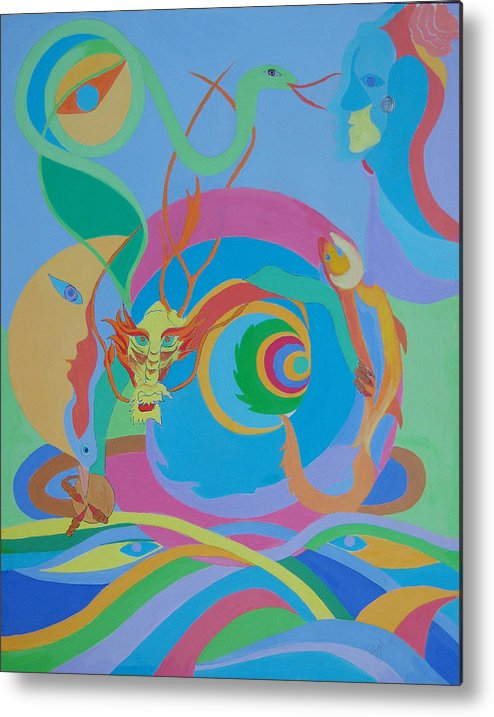 Acrylic Metal Print featuring the painting Moonbird In A Dragon Spiral by Seema Gill