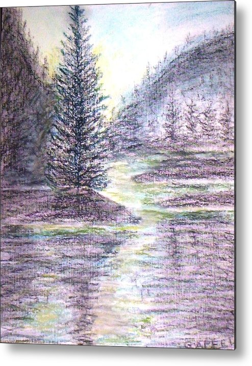 Pine Trees Metal Print featuring the drawing Morning Pine by Gloria M Apfel