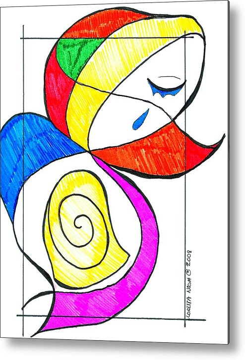 Metal Print featuring the drawing Mother by Loretta Nash