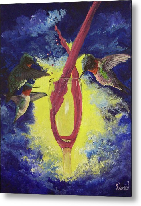 Hummingbird Paintings Metal Print featuring the painting Nectar by Bill Werle