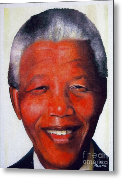 Nelson Mandela South Africa Metal Print featuring the painting Nelson Mandela by Abu Artist