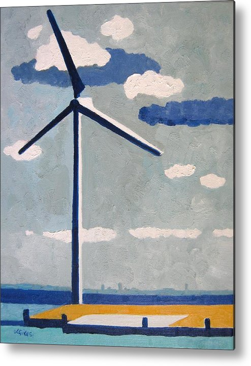 Netherlands Metal Print featuring the painting Netherlands Wind Turbine by Lesley Giles