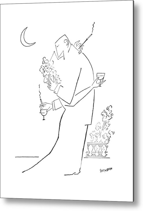 97437 Sst Saul Steinberg (couple Embrace. Both Are Holding A Cocktail Glass And A Cigarette.) Alcohol Attraction Attractive Beer Booze Both Chase Cigarette Cocktail Couple Drink Embrace ?irt ?irting Glass Hit Hitting Holding Likeness Love Marriage Men Personality Relations Relationships Romance Sex Sexual Sexy Similar Smoke Smoking Vice Women Metal Print featuring the drawing New Yorker September 5th, 1953 by Saul Steinberg